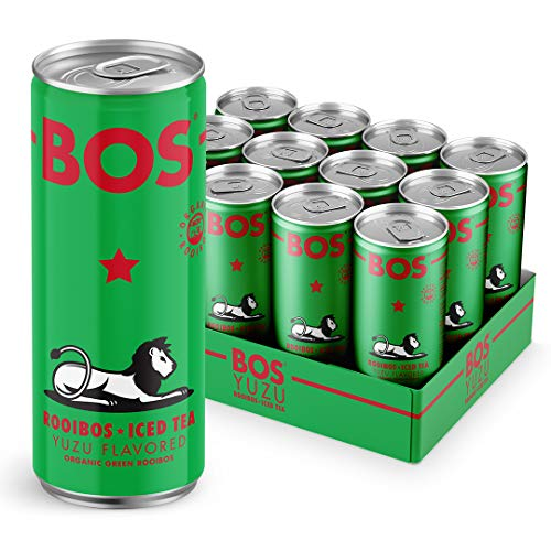 BOS Organic Iced Tea   Naturally Caffeine Free   Made with Rooibos – a South African superfood packed with antioxidants   Five Delicious Flavors (Green, 12 Cans) ()