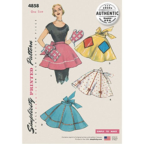 - Simplicity Pattern 4858 One-Size/One-Yard Vintage Apron Plus Mitts