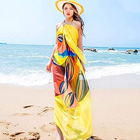 4d0ba87a84f8a Image Unavailable. Image not available for. Colour: Pareo Scarf Women Beach  Sarongs Beach Cover Up Summer Chiffon Scarves Geometrical ...