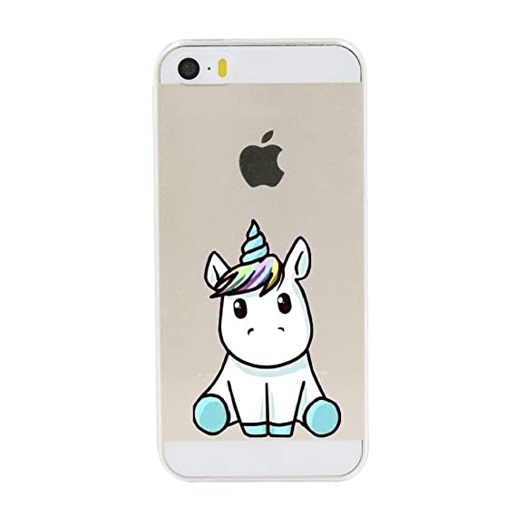 half off f0006 c01d6 iPhone 5 5S SE Case,Cute Unicorn Pattern on Soft TPU Silicone Protective  Skin Ultra Slim & Clear with Funny Design Gift Bumper Back Cover for iPhone  ...