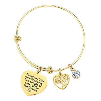 1b6c70fa6e0e8 4MEMORYS Stainless Steel Inspirational Charm Bracelet with Engraved Letters  Fashion Jewelry Adjustable Bangle Gift for Women Girl Sister Mother ...