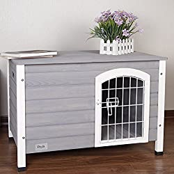 "Petsfit 31.5"" Lx21.5 Wx21 H Indoor Dog House Wooden With Door For Small Dog Color Grey"