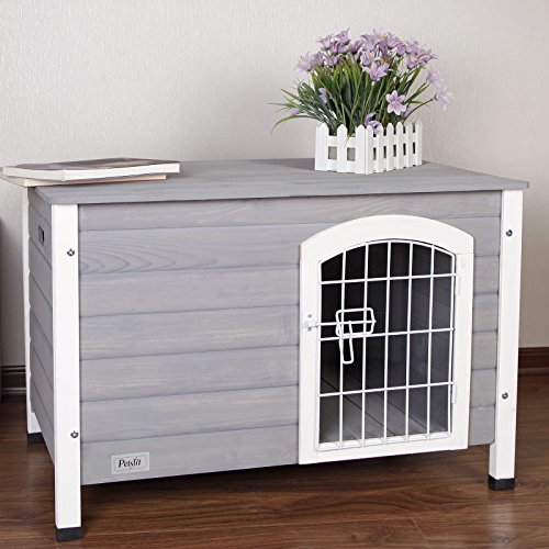 Petsfit Indoor Wooden Dog House with Wire Door for Small Dog Grey 31.5 x 21.5 x 21 Inches