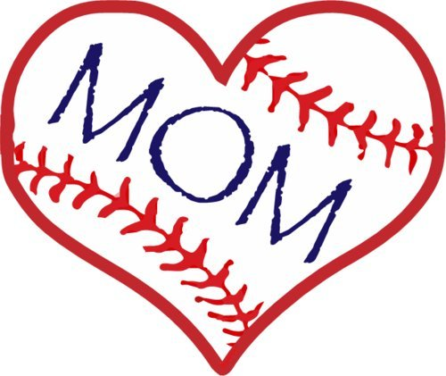 Vinyl Magnet Applied (BASEBALL MOM HEART Vinyl Refrigerator Bumper Magnet - Perfect Baseball Mom Gift)