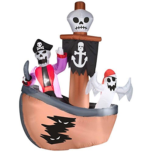Skeleton with Ghost Pirates Ship Scene Inflatable Scene Airblown Halloween Creepy Scary Decor Haunted House Prop Outdoor Yard Decoration