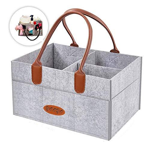Baby Diaper Caddy Organizer, Yooyo Nursery Storage Bin and Car Organizer for Diapers and Baby Wipes (Caddy N01)