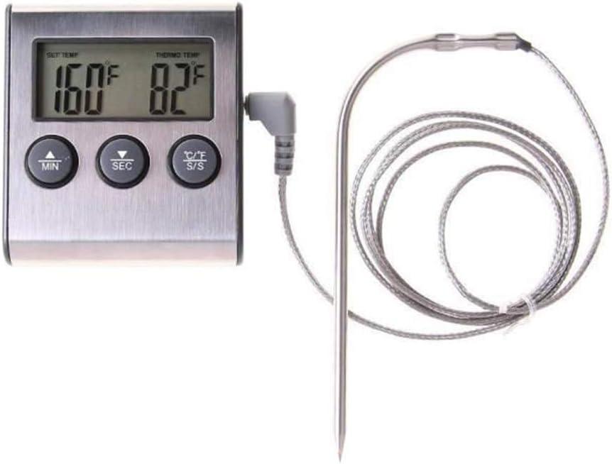 Termómetro Digital de Horno Cocina Comida Cocina Carne Termómetro de sonda de Barbacoa con Temporizador Agua Leche Temperatura Cocina Herramientas