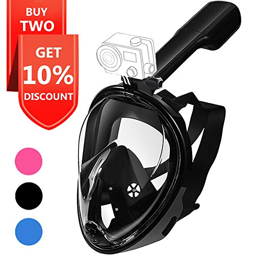 Snorkel Mask, Explomos Diving Snorkeling Mask with Gopro Mount 180° Full Face Panoramic View Anti-Fog Anti-Leak Easybreath Dry Snorkeling Scuba Dive Equipment Safety for Adults Youth Kids(Black S)