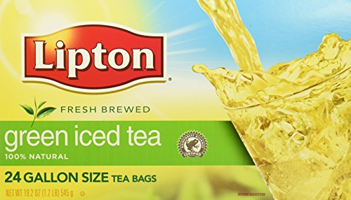 Lipton Green Unsweetened Iced Tea Bags Made with Tea Leaves Sourced from Rainforest Alliance Certified Farms, 1 gallon, 2x Pack of 24
