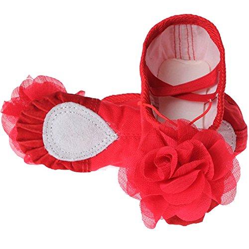 Feoya Chaussures de Ballet Ballerines Chaussons en Toile avec une fleur pour Enfant Fille Femme - Rouge - FR 33