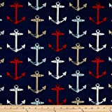 Bryant Indoor/Outdoor Anchor Allover Arbor Navy Fabric By The Yard