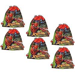 Disney Marvel Spider-Man 14-inch Sling Bags Drawstring Cinch Sack Totes, 6-Pack