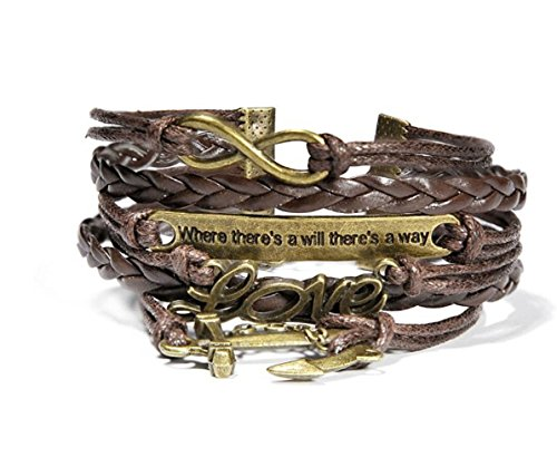 Most Beloved Jewelry Mens Womens Leather Bracelet Anchor Love Will Charm Bangle Brown