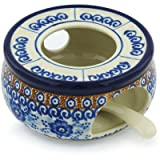 Polish Pottery Heater with Candle Holder 5-inch Dancing Blue Poppies UNIKAT