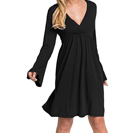 8ec6020c0bf0 Londony Clearance Dress for Women Deep V-Neck Ruched Front Long ...