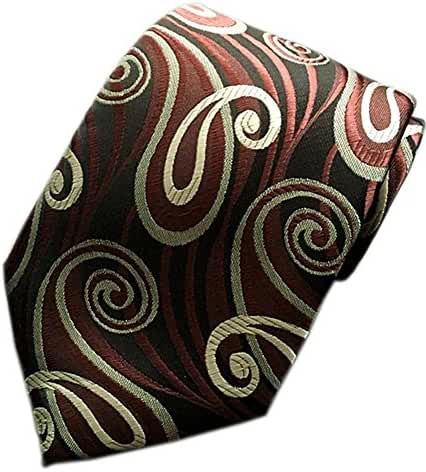 MENDENG Classic Paisley Brown Black Red JACQUARD WOVEN Silk Men's Tie Necktie