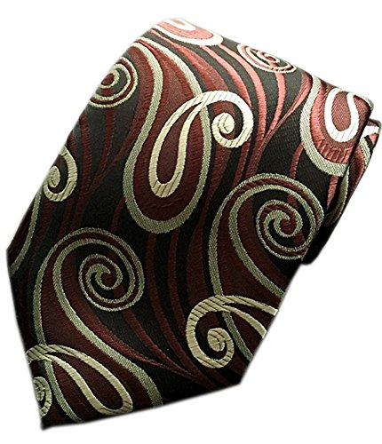 Necktie Black Paisley Design - MENDENG Classic Paisley Brown Black Red JACQUARD WOVEN Silk Men's Tie Necktie