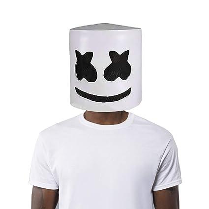 Finalshow Látex Máscara DJ Marshmello Disfraz Cabeza Llena Casco Halloween Cosplay Traje Bar música Props Novedad Adulto: Amazon.es: Juguetes y juegos