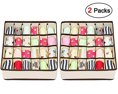 (Joyoldelf Sock Drawer Organizer Divider 2 Packs Underwear Organizer, 24 Cell Collapsible Closet Cabinet Organizer Underwear Storage Boxes for Storing Socks, Bra, Handkerchiefs, Ties, Belts)