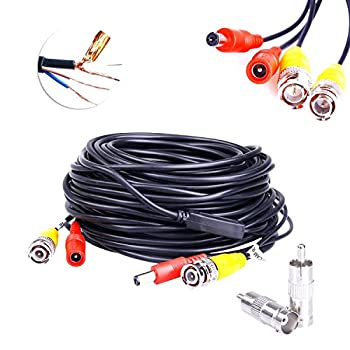 JZTEK 4 Pack 60 Feet BNC Video Power Cable Pre-Made All-in-One Plug Play Combo Coaxial Cable 8pcs BNC to RCA Connectors HD 1080P/960P/720P, 1200TVL, TVI, CVI, AHD Analog Camera (Black)