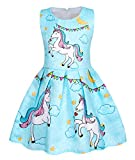 Cotrio Unicorn Dress Girls Rainbow Horse Coloured Flag Birthday Party Dresses Outfits Toddler Kids Sleeveless Pleated Skirt Size 10 (9-10Years, Blue)