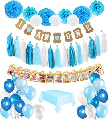 "1st Birthday Boy's Decoration kit- Complete 50 Pcs set Party Decoration- Beautiful Colors for First Baby Boy's Birthday - ""I'm One"" Banner and Tablecover included- By IBB ()"