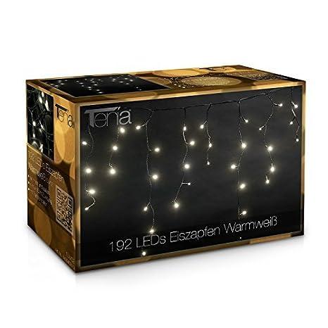 5a1b5fdbc02 Tenia - Cortina Cascada de luces LED carámbano Iluminación navideña 4m  Blanco Cálido 192 microbombillas LED 4 12 W Para interior y exterior   Amazon.es  ...