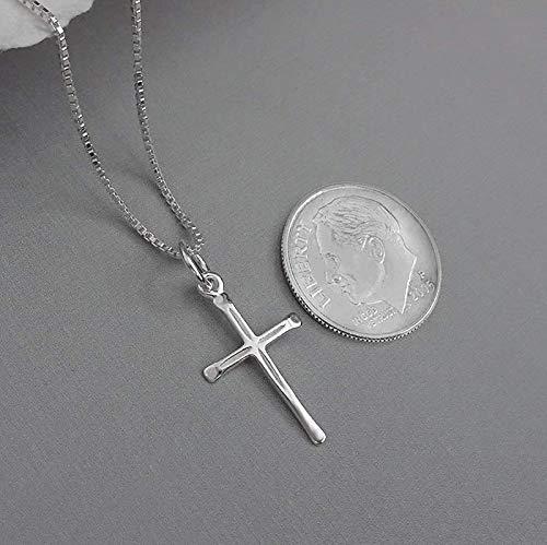 gold alloy ladies,girls, 40 cm silver 925 for communion confirmation pendant 1 cm diameter Cross necklace