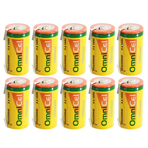 10x OmniCel ER26500HD 3.6V 6.5Ah Sz C Lithium Battery Tabs RFID Beacons AMR by Exell Battery