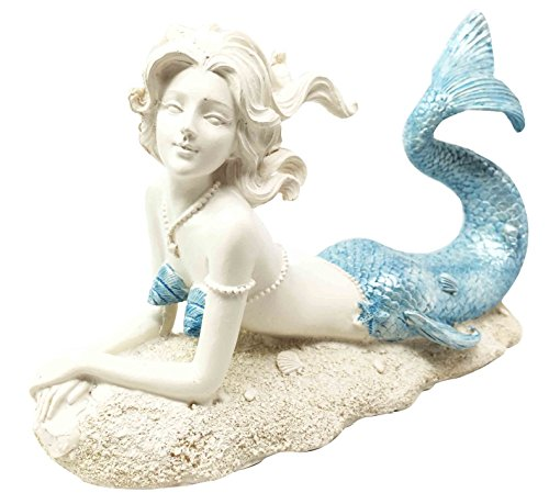 Beautiful Ocean Goddess Celeste Blue Tailed Mermaid Relaxing Figurine Home Decor Nautical (Mermaid Sculptures)