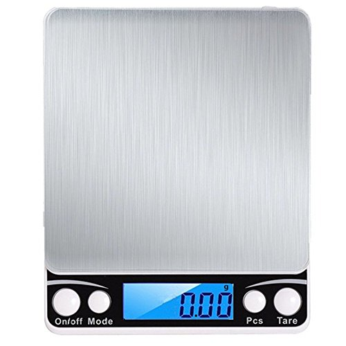 K&K Digital Food Scales, 500g/ 0.01g/0.001oz High Precision Scales, Jewelry, postage,Stainless Steel portable Scales Battery Included (Silver) by K&k