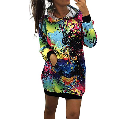 WEISUN Hooded Dress Fashion Womens Colorful Tie Dyeing Print Sweatshirt Hooded Overcoat Blouse Tops Black
