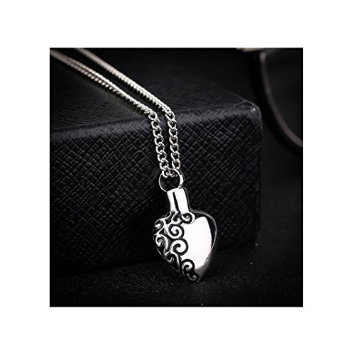 d Cinerary Casket Pendant Necklace Sculpture Heart Shaped Stainless Steel Cremation Urn Pendant (Silver) ()