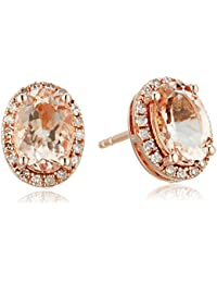 14k Rose Gold Oval Morganite and Diamond Halo Stud Earrings (1/8 cttw, H-I Color, I1-I2 Clarity)