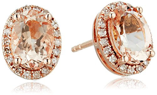 14k Rose Gold Oval Morganite and Diamond Halo Stud Earrings 1 8 cttw, H-I Color, I1-I2 Clarity