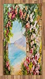 Art Area Rug by Ambesonne, Old Antique Arch Covered by Rose Petals Branches Romantic Italian Panorama Sea Print, Flat Woven Accent Rug for Living Room Bedroom Dining Room, 2.6 x 5 FT, Multicolor