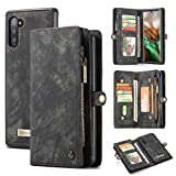 AKHVRS Galaxy Note 10 Wallet Case,Premium Leather Folding Flip Wallet Case Cover with Card Slots Magnetic Closure Protective Cover Detachable Wallet Folio for Samsung Galaxy Note 10 - Black