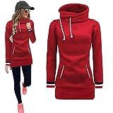 AMSKY❤ Women Solid Color Pullover Sweatshirt Coat Sweater Crop Top Blouse
