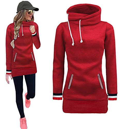Cuff Flutter (Sunhusing Women's Color Striped Cuffs Solid Color Long-Sleeve Roll Collar Drawstring Hooded Sweatshirt Tops)