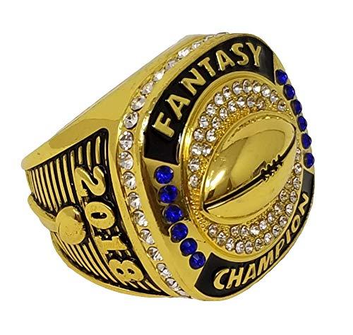 Decade Awards2018 ゴールドファンタジーフットボールチャンピオンリング スタイルB ヘビーFFL リーグチャンピオンリング スタンド付き B07H7VW33K  10