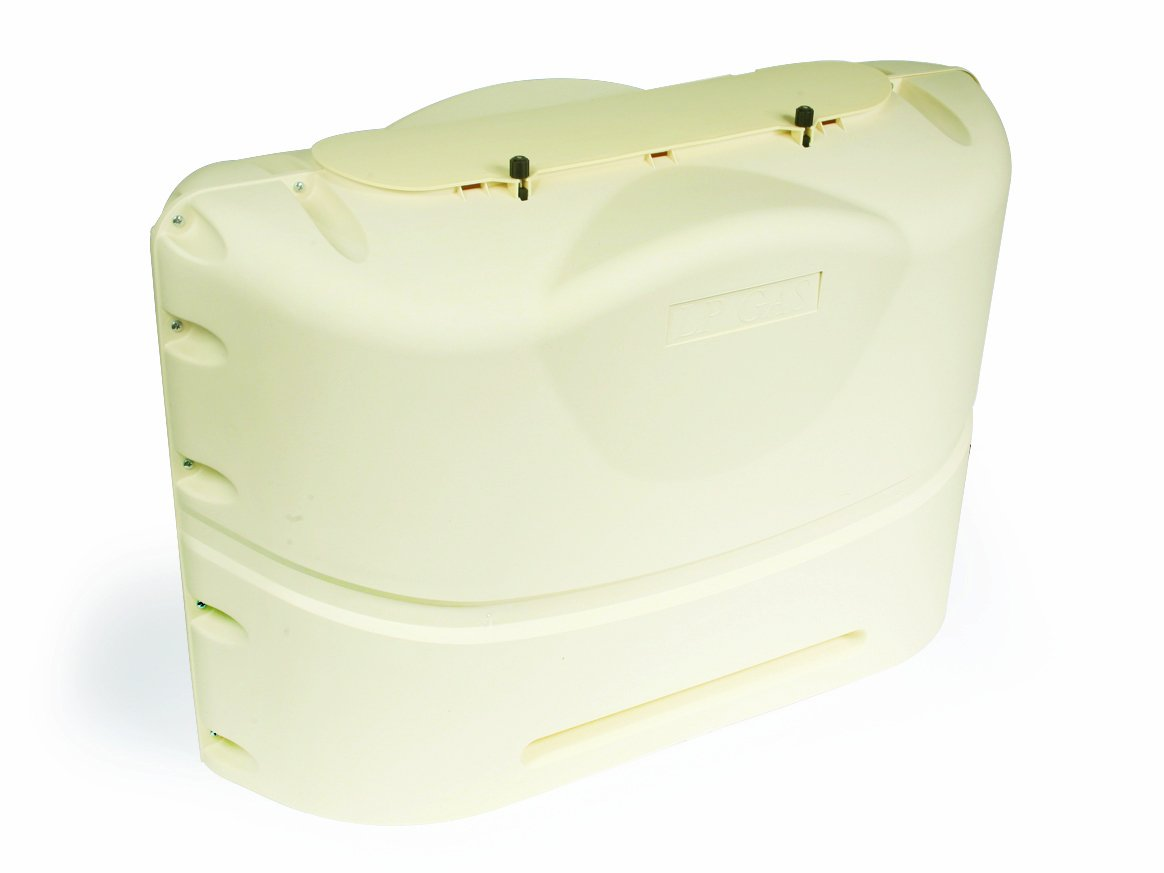 Camco  Heavy-Duty 20lb Propane Tank Cover Protector- Protect Popane Tank from Flying Debris Provides Easier Access to Gas Valves Polar White 40523