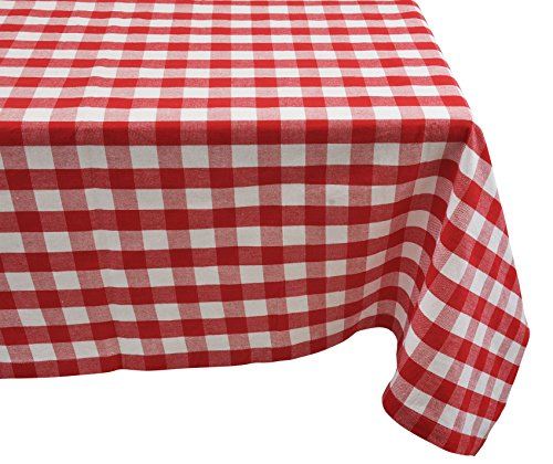 Yourtablecloth 100% Cotton Checkered Buffalo Plaid Tablecloth -for Home, Restaurants, Cafés - Be it for Everyday Dinner Picnic or Occasions Like Thanksgiving 60 x 84 Rectangle/Oblong Red and White -