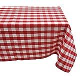 Yourtablecloth Mantel Rectangular o Cuadrado de algodón a Cuadros de, Blanco y Rojo, 60 x 84 Rectangle/Oblong