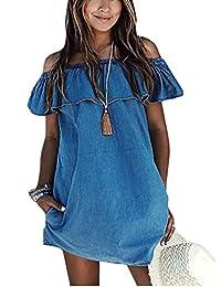 ABD Women's Blue Jean Legging Off Shoulder Ruffle Short Sleeve Loose Mini Dress