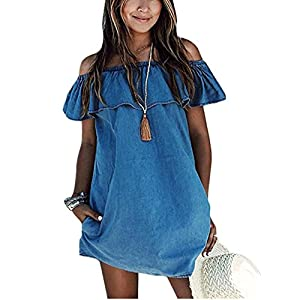 OQC Women's Blue Jean Dress Off Shoulder Ruffle Short Sleeve Loose Denim Mini Dress with Pocket