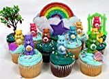 CARE BEARS 14 Piece Birthday CUPCAKE Topper Set, Featuring 10 Care Bear Figures, Decorative Themed Accessories, Figures Average 2
