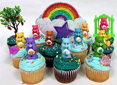 - CARE BEARS 14 Piece Birthday CUPCAKE Topper Set, Featuring 10 Care Bear Figures, Decorative Themed Accessories, Figures Average 2