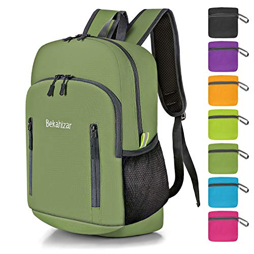 Bekahizar Foldable Backpack Small Hiking Daypack 20L Ultra Lightweight Water Resistant Packable Travel Day Bag for Men Women Kids Outdoor Sports Camping Day Trips Walking Cycling (Green)