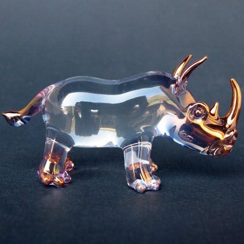 Rhinocerous Rhino Figurine of Hand Blown Glass