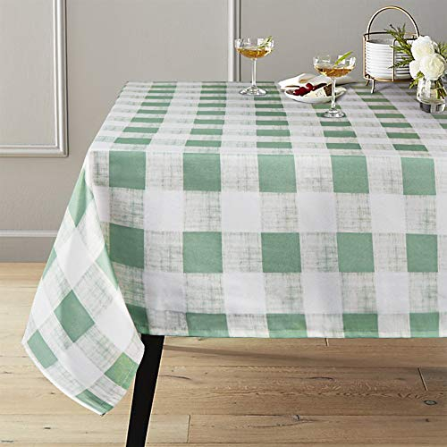 Lahome Checkered Tablecloth - Spillproof Water Resistant Polyester Plaid Tablecloth Table Cover for Kitchen Dining Room Restaurant Party Picnic Decoration (Green, Rectangle - 52